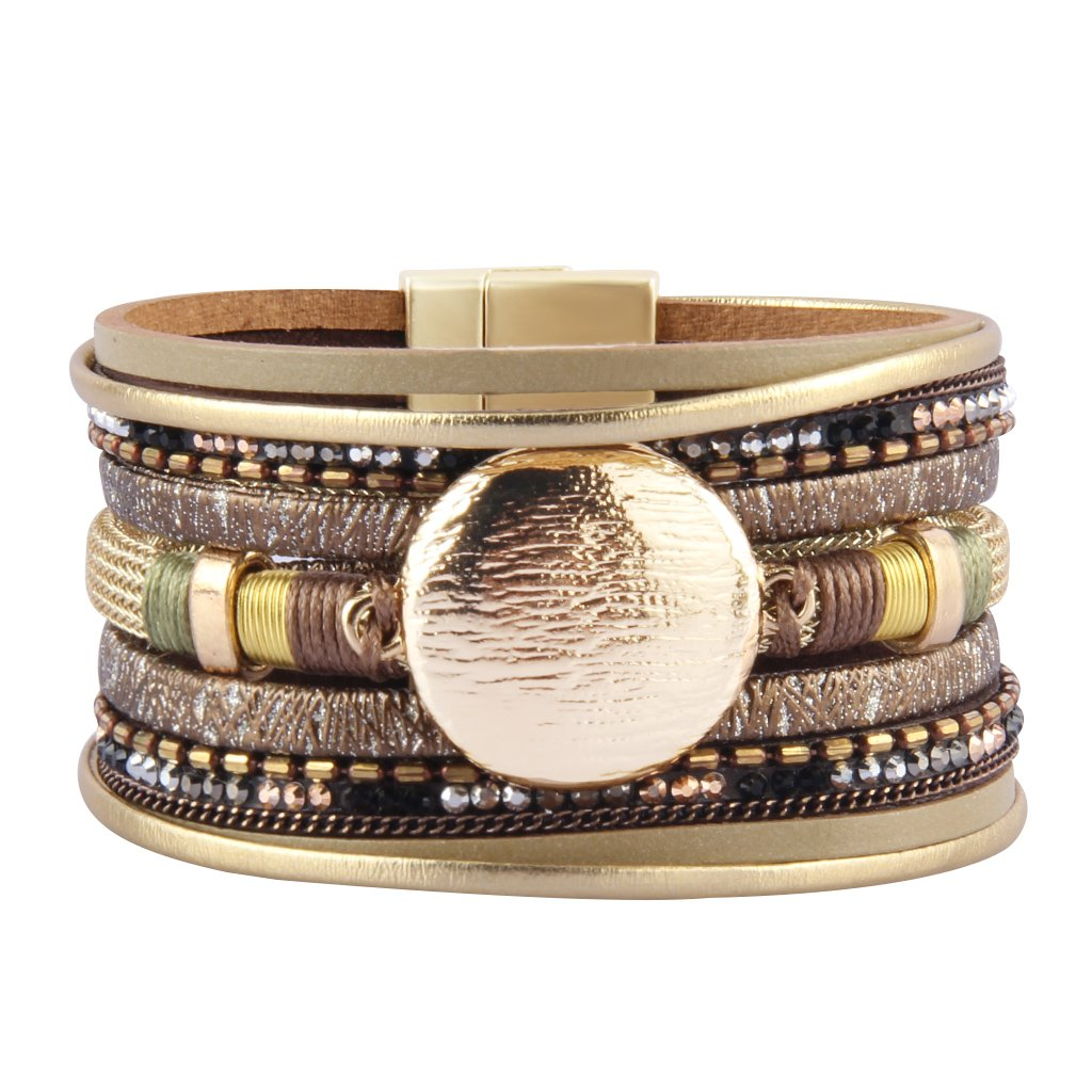 Jenia Women's Leather Wrap Bracelet Boho Bracelets Wide Cuff Bangle with Round Alloy Part Handmade Woven Jewelry for Girls,Teens, Mother, Sister Birthday Gift
