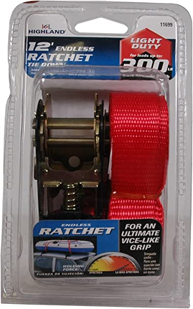 Highland 1 piece 10 Red Ratchet Tie Down with Hooks 1227000