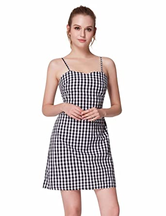 77162a8334a Cute Fashion Sleeveless Layered Plaid Dress For Women 20UK Black and White   Amazon.co.uk  Clothing
