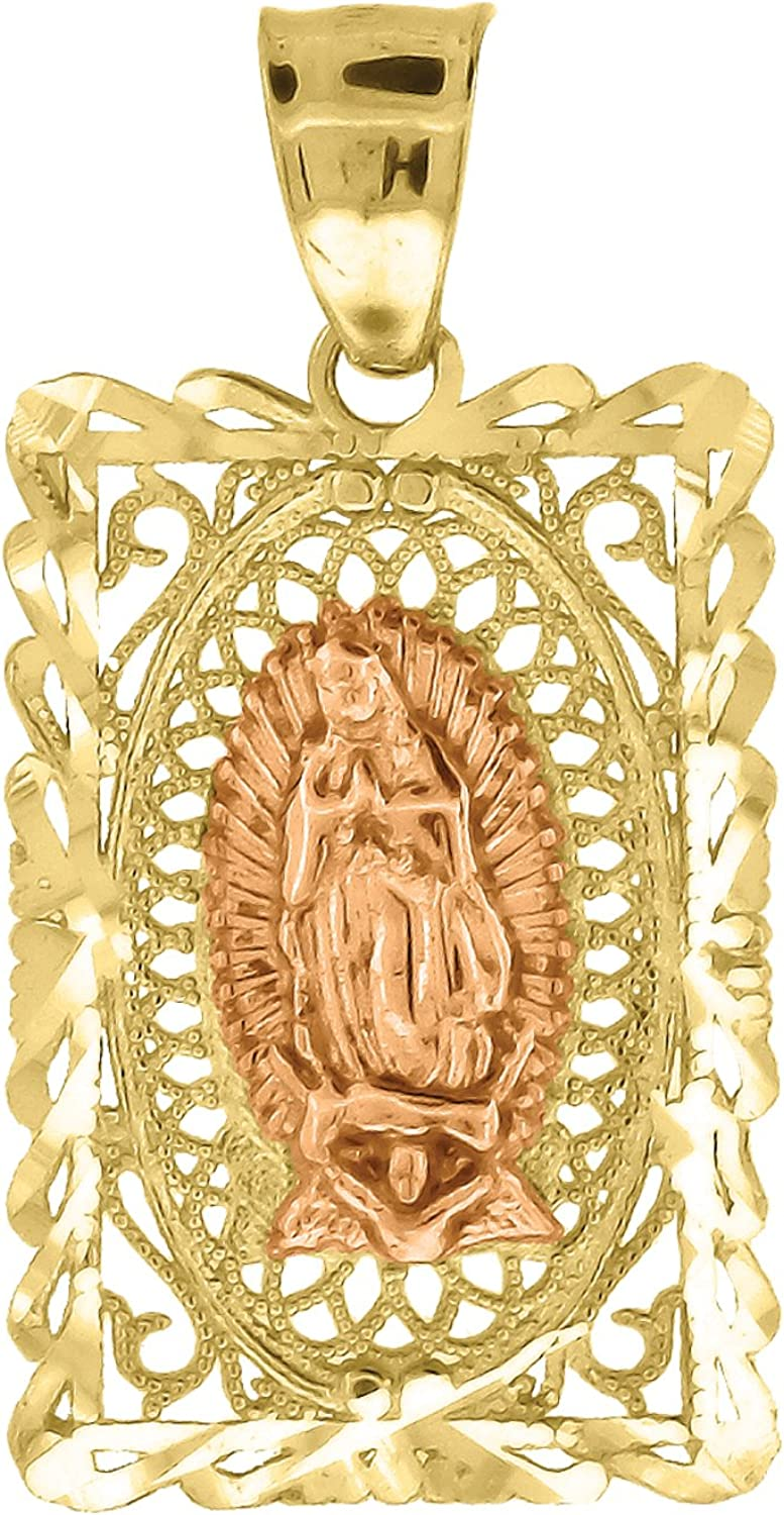 FB Jewels 10k Gold Red Rose and Yellow Two tone Diamond-cut womens Guadalupe Mary Rectangle Religious Charm Pendant Ht:23mm x W:12mm