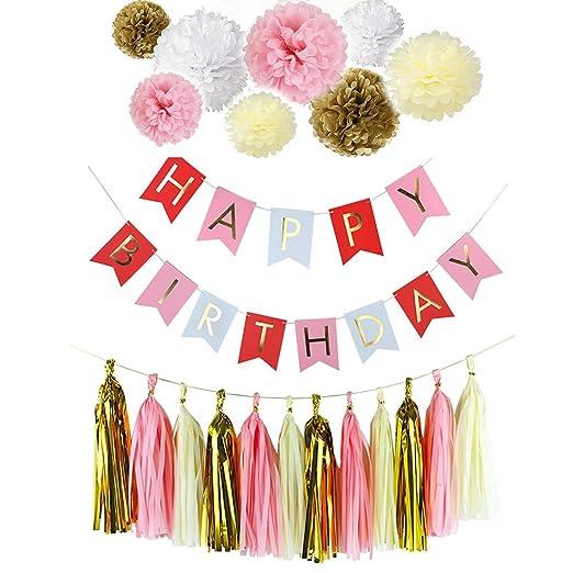 fascola feliz cumpleaños Bunting Banners, Golden guirnaldas ...