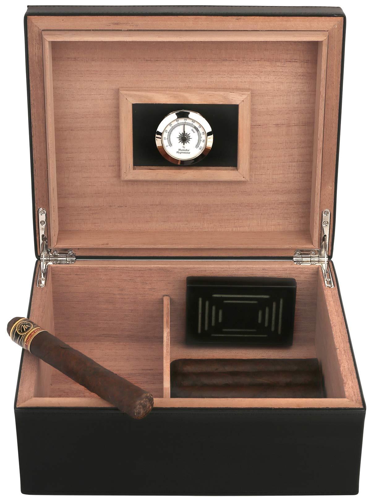 Mantello 25-50 Leather Cigar Desktop Humidor