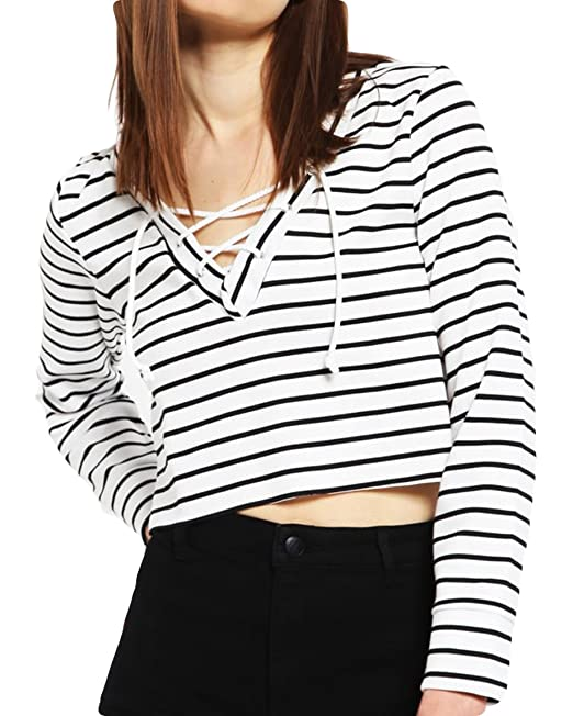 422bbe91aab9 POGTMM Women s Sexy V-Neck Long Sleeve Lace Up Striped Basic Crop Blouse T-