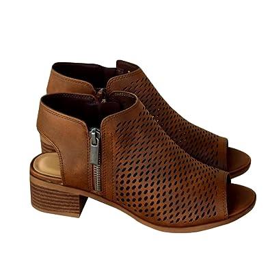 0ffc2e2b493 Bbalizko Womens Hollow Out Ankle Heeled Mid Heel Bootie Open Peep Toe  Leather Boot Side Zipper