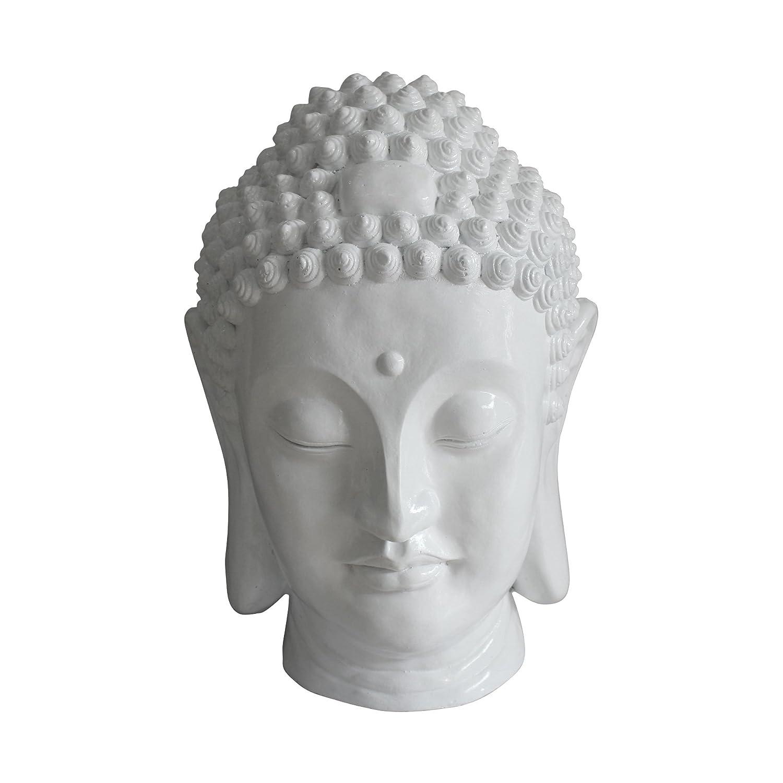 HOMEA 5dej1336bc Statue Zeichnung Kopf Buddha Magnesia Weiß 35 x 34 x 52 cm