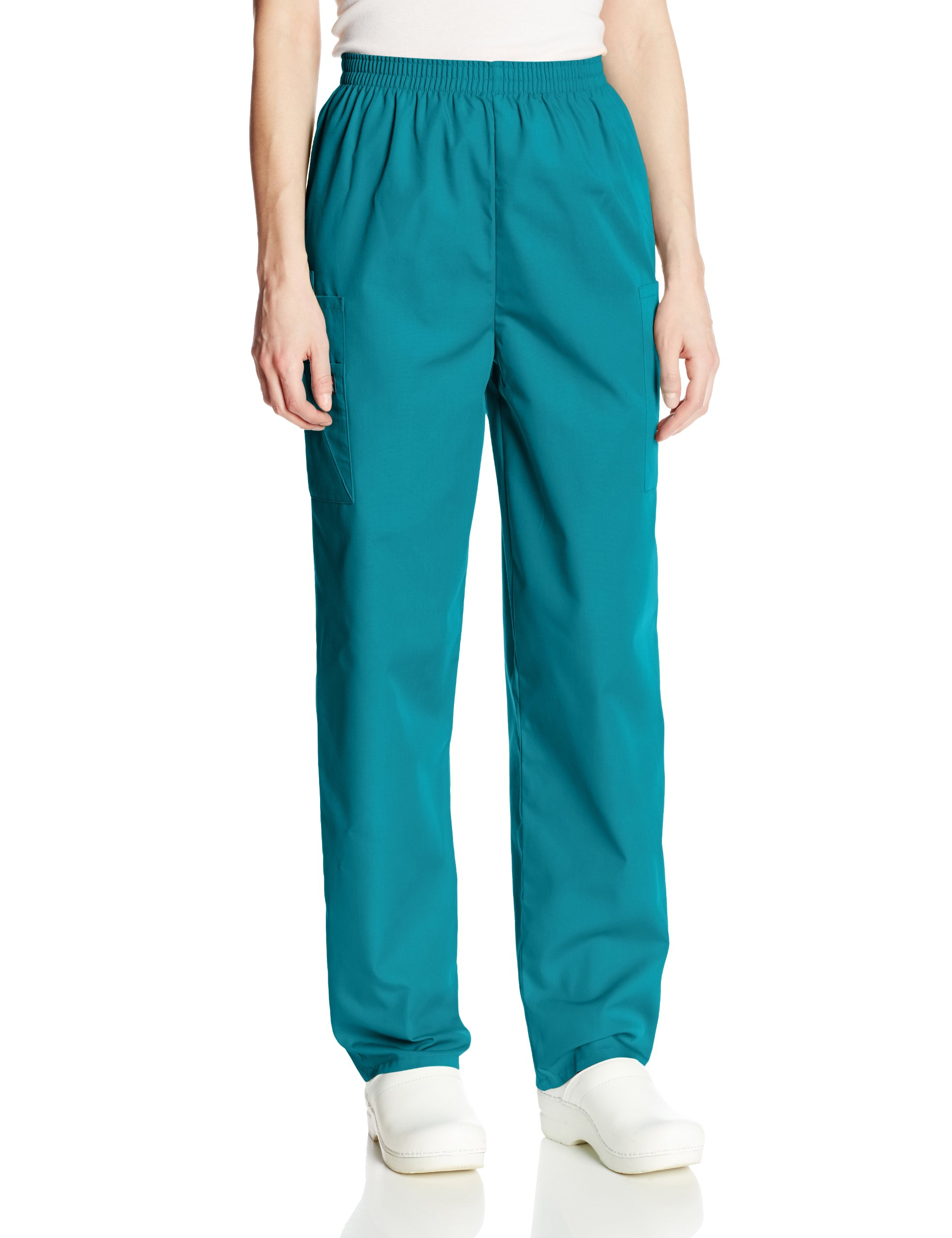 Cherokee Women's Workwear Scrubs Pull-On Cargo Pant, Teal Blue, X-Small-Petite