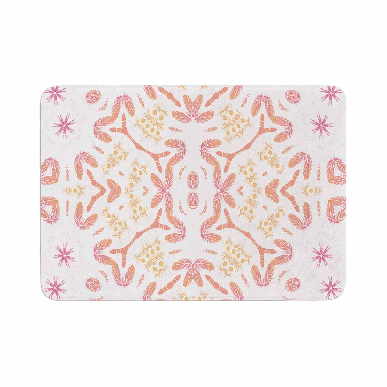 17 x 24 Kess InHouse Alison Coxon Aztec Feather Coral White Memory Foam Bath Mat