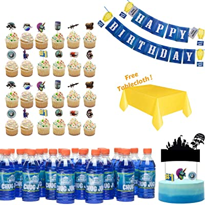 Game Birthday Party Supplies - Birthday Party Decorations Set- Party Supplies for Boys - Chug Jug Bottle Labels (24 pc)+ Birthday Party Banner + Cake & Cupcake Toppers (25pc)+ Table Cloth: Toys & Games
