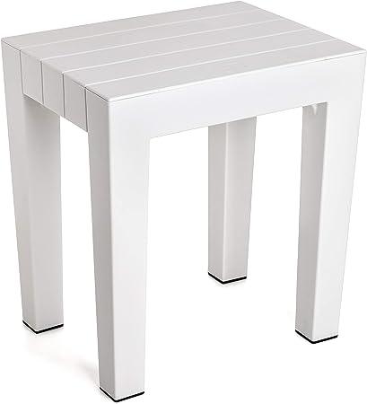 Banqueta modelo LOMBOK de alta resistencia y seguridad en color blanco, medidas 38 x 29 x 41 c,Fabri