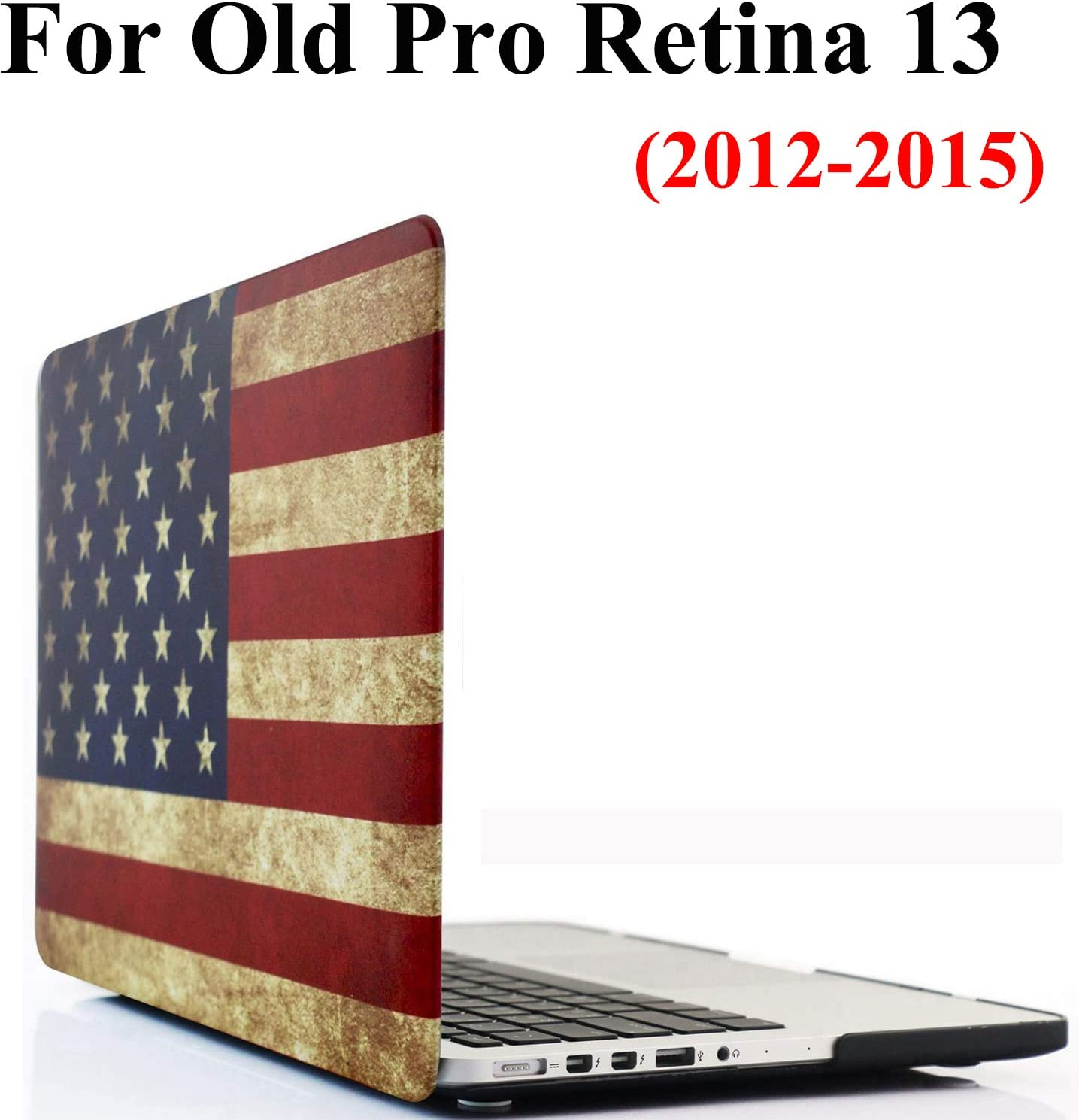 Old MacBook Pro Retina 13 Inch NO CD-ROM Drive Case A1502/A1425, iZi Way Rubberized Hard Shell Case Cover for Previous Mac Pro 13 with Retina Display (2015-2012 Late) - Retro American Flag