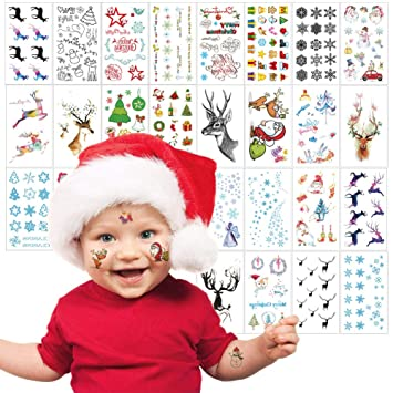 e7bef868975 Amazon.com   Christmas Tattoos for Kids Adults