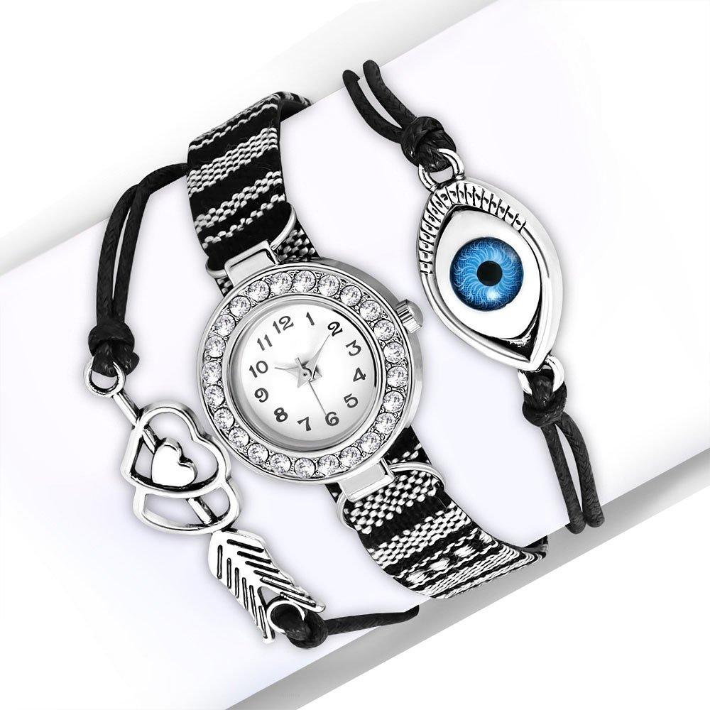 My Daily Styles Fashion Alloy CZ Black White Love Heart Evil Eye Wrist Watch, 8.5''