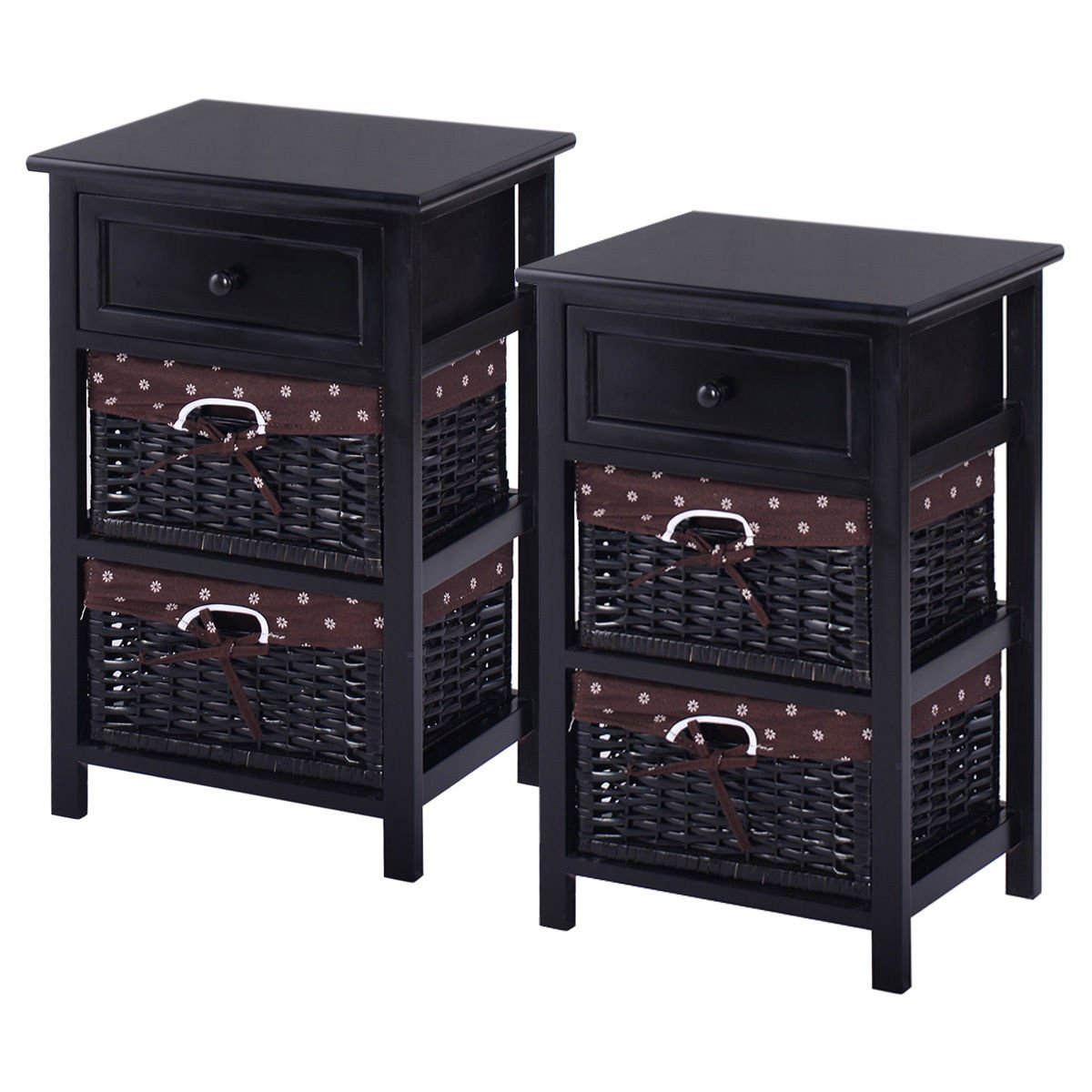 Giantex Black Night Stand 3 Tier 1 Drawer Bedside End Table Organizer Wood W/2 Basket,Set Of 2(2Black)