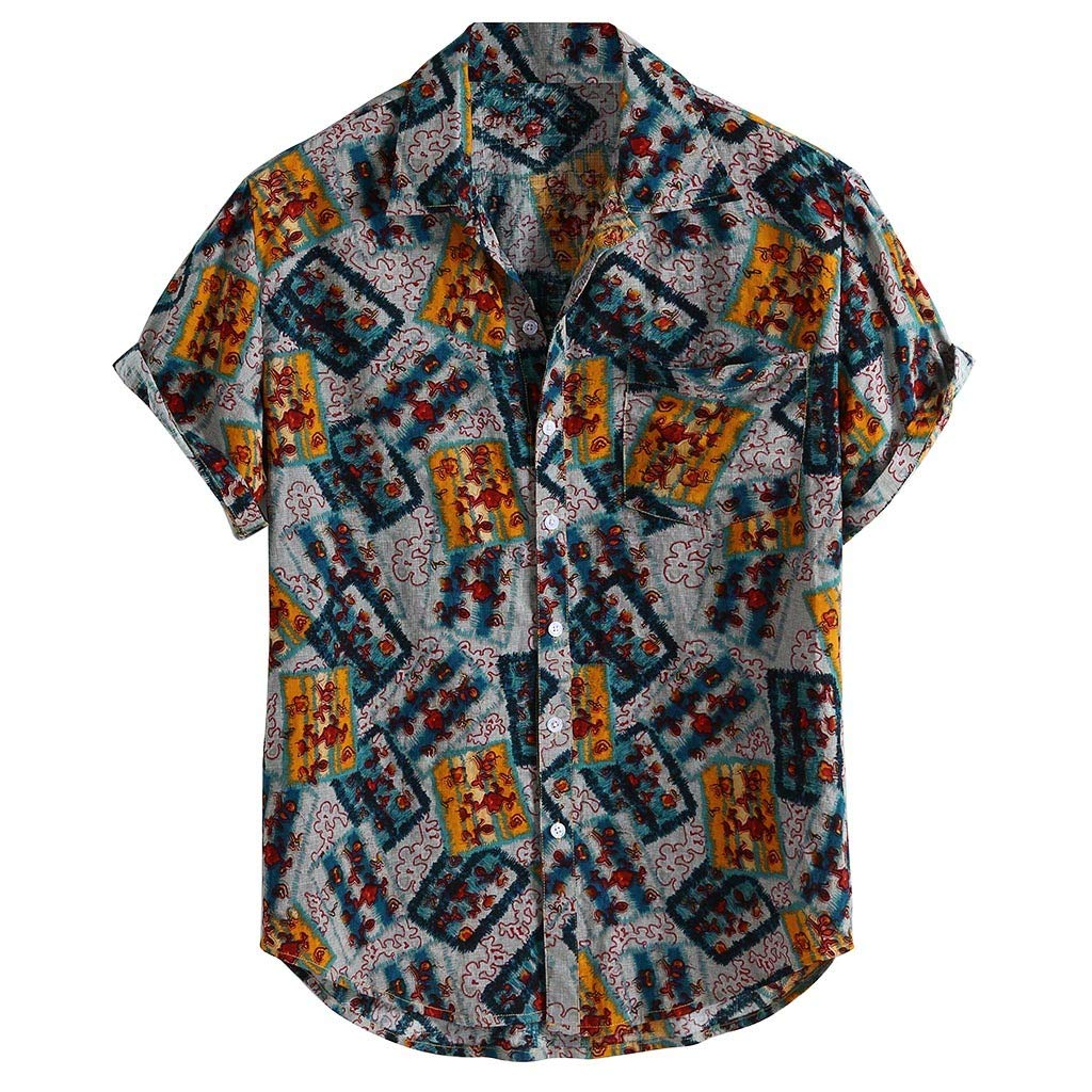 Mens Shirt Vintage Floral Print Turn Down Collar Short Sleeve Loose Ethnic Henley Shirt with Pocket