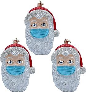 ZAONE 2020 Santa Claus Ornament Christmas Tree Hanging Decoration Pendant Personalized Xmas Gifts Santa Home Decor (3 PCS)