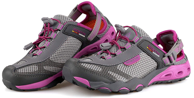 HUMTTO Women Outdoor Breathable Upstream Quick-Drying Aqua Mesh Lightweight Trekking Wading Shoes B07FLTLWZL 6 M US Grey