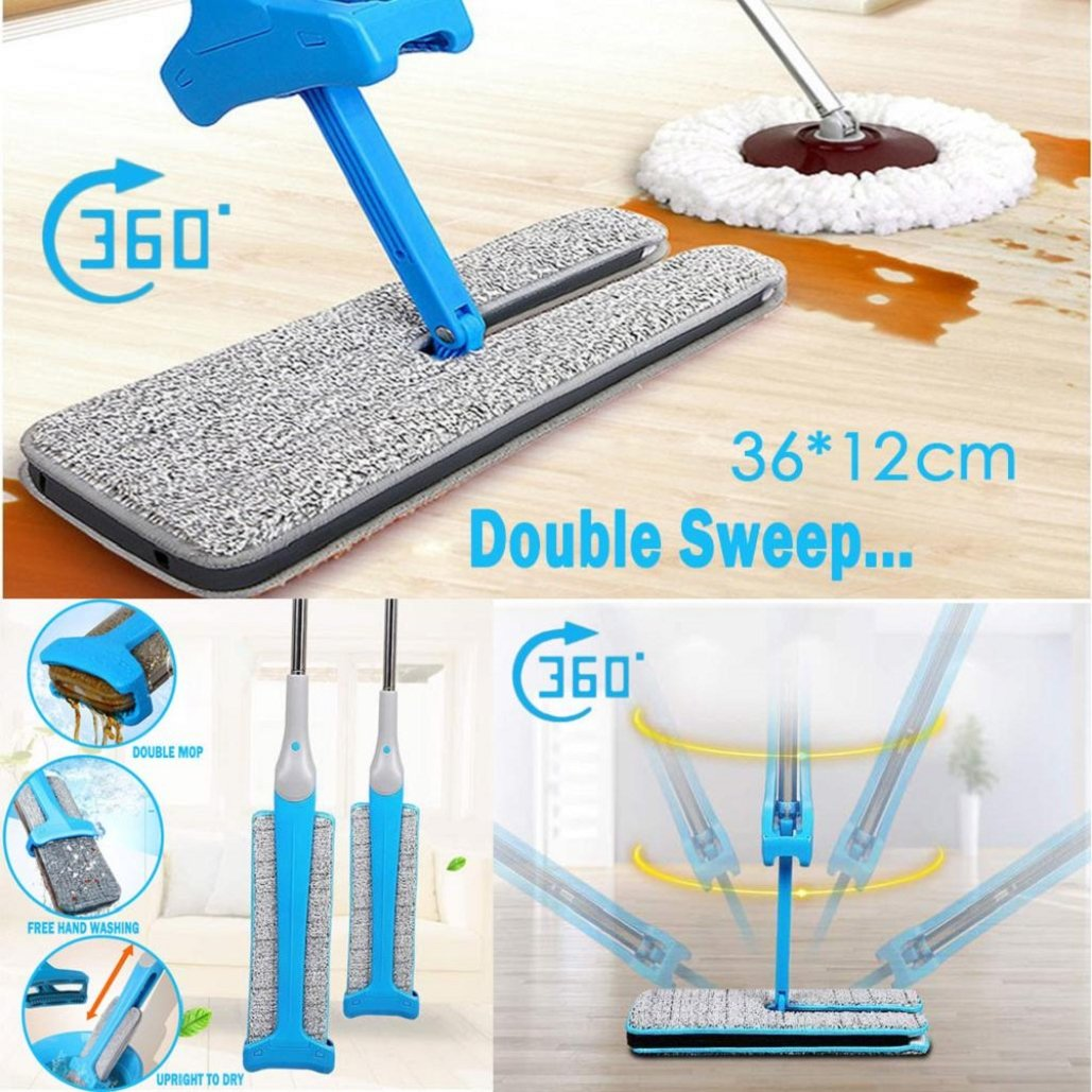 Double Sided Non Hand Washing Flat Mop,for Bathroom, Kitchen, Tile,Hardwood Floor,Office,Window,360 Spin Automatic Squeeze,36CM Cloth,Tuscom (Telescopic Mop+ 2 Pc Mop Cloth/Blue)