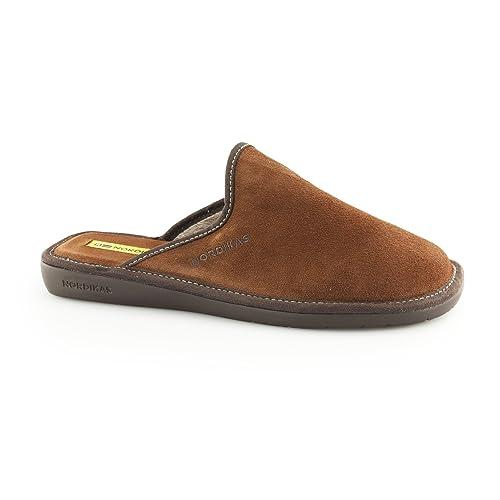 Nordikas - Zapatillas de estar por casa de Piel para hombre marrón marrón: Amazon.es: Zapatos y complementos