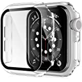 2 Pack HATOSHI Hard Case for Apple Watch 40mm Series 6, 5, 4, SE Built-in Tempered Glass Screen Protector, Ultra-Thin All Aro