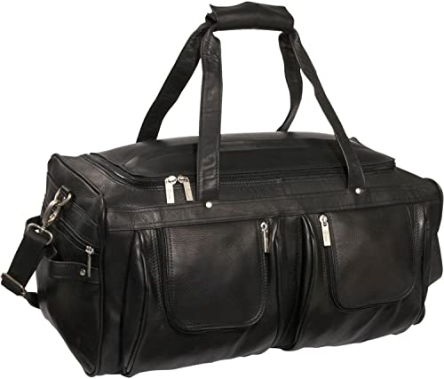 Royce Leather Executive Travel Duffel Bag Handcrafted in Colombian Leather, Black, One Size