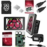 "Raspberry Pi 3 Ultimate Starter Kit – Set Barebone Mini Pc Raspi 3 Con Placa Base Raspberry Pi 3 Modelo B, Pantalla Táctil 7"", Tarjeta SD 16GB, 2 Disipadores Térmicos, Cable HDMI y Carcasa Oficial"
