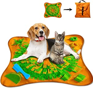 ZAHRVIA Snuffle Mat Pet Dog Feeding Mat, Durable Interactive Dog Toys,Interactive Food IQ Toy,Dog Training Pad to Encourages Natural Foraging Skills and Release Stress (Yellow-Green)