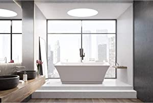 Vanity Art Freestanding Acrylic Bathtub Modern Stand Alone Soaking Tub with Chrome Finish UPC Certified Slotted Overflow and Pop-up Drain VA6817-L