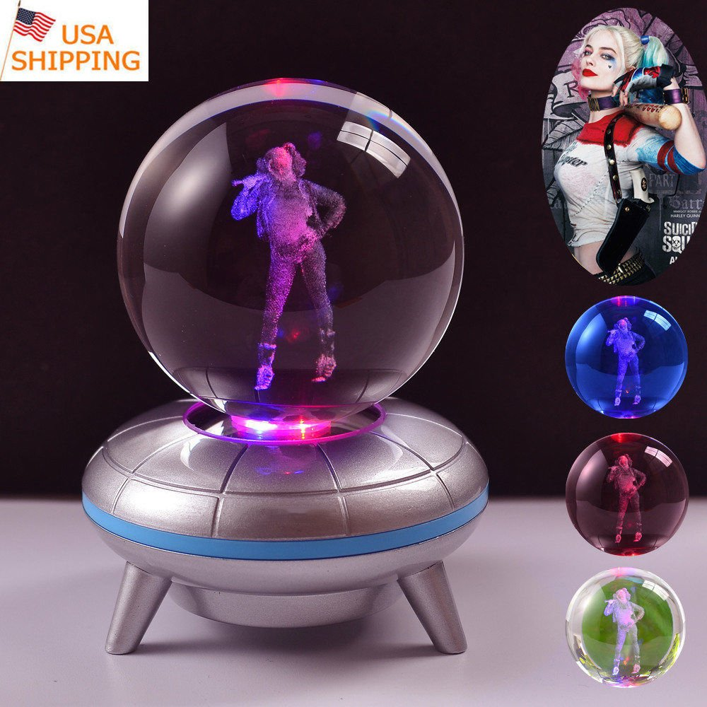 Purpplex Unique Pokemon Star Wars 3D Optical Illusion Crystal Anime Ball Desk Lamp with Color Changing LED Night Light Base Great Gift for Home Décor - Harley Quinn