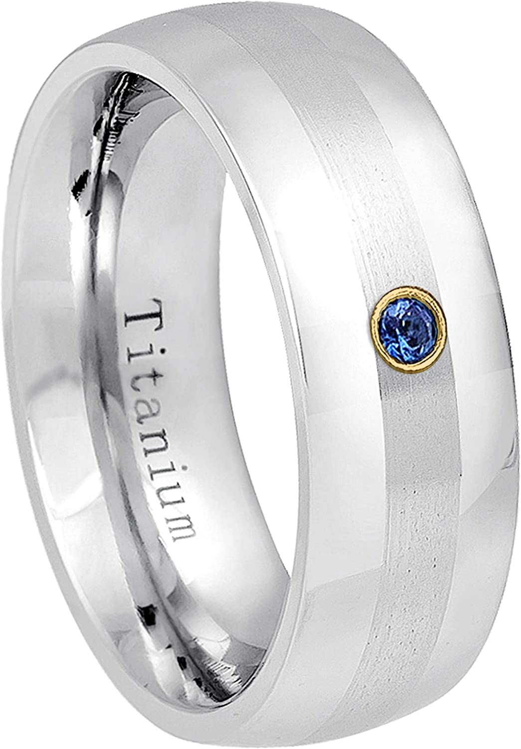 0.07ct Blue Sapphire Solitaire Titanium Ring 8MM Polished Dome Brushed Center Finish Comfort Fit White Wedding Band September Birthstone Ring