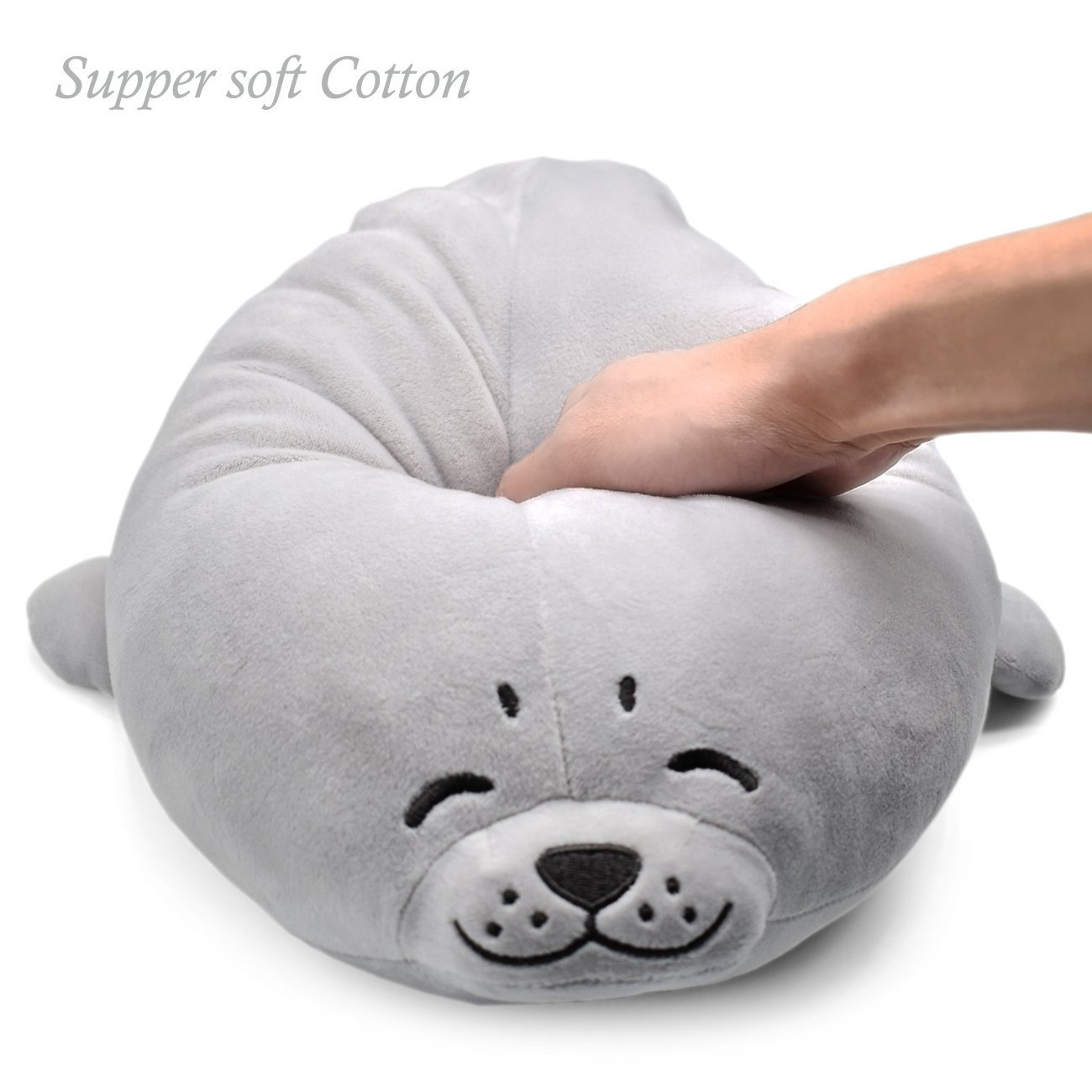 Sunyou Plush Cute Seal Pillow - Stuffed Cotton Soft Animal Toy Grey 27.5 inch/70cm (Large) Gift For Friend Kid/Adult On Friendship Day by Sunyou (Image #3)