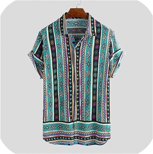 Hmarkt Mens Winter Long Sleeve Slim Fit Lapel Floral Print Casual Cotton Button Down Flap Pockets Shirts