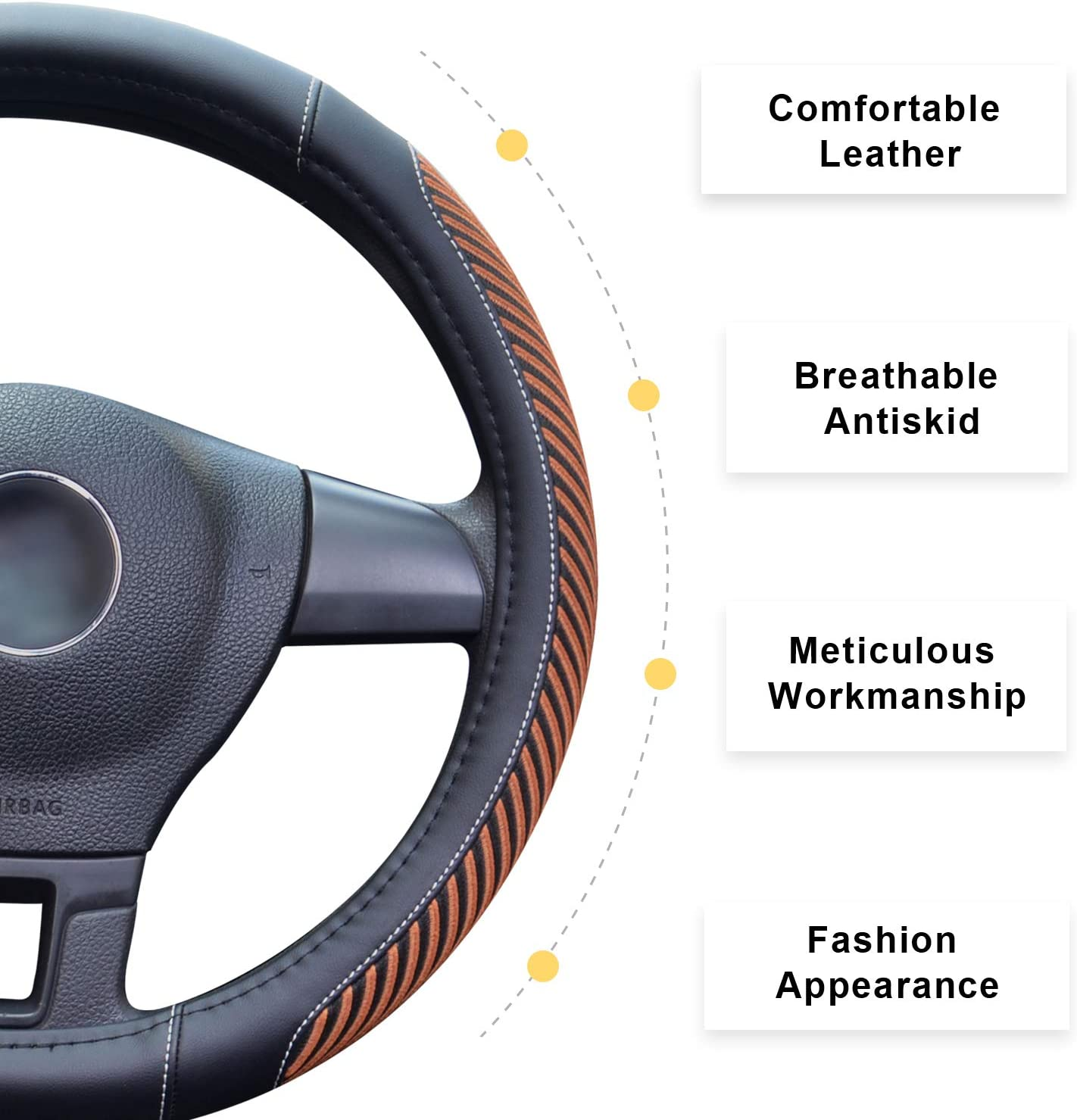 Odorless Warm in Winter Cool in Summer Gray BOKIN Steering Wheel Cover Microfiber Leather Viscose Universal 15 Inches Anti-Slip Breathable