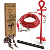 30 Ft Dog Tie Out Cable and Stake - Dog Yard Leash and Stake for Medium to Large Dogs Up to 100 lbs - Spiral Blade Dog…