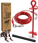 Pestairs 30 Ft Dog Tie Out Cable and Stake - Heavy