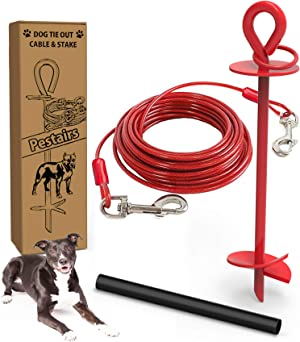 Pestairs 30 Ft Dog Tie Out Cable and Stake - Heavy Dog Yard Leash and Stake for Small Medium Large Dogs Up to 100 lbs - Spiral Blade Dog Yard Stake for Outside Yard Beach Lawn