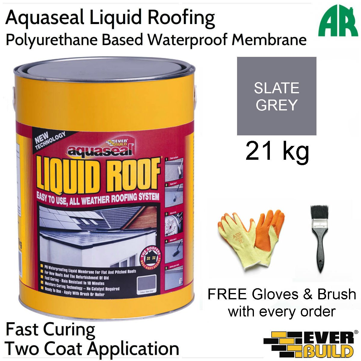 Everbuild Aquaseal Liquid Roof | Rubber Roof Membrane | All Weather Roofing System | Two Colours | Two Sizes | Free Brush & Gloves | By Everbuild (Large, Slate Grey)