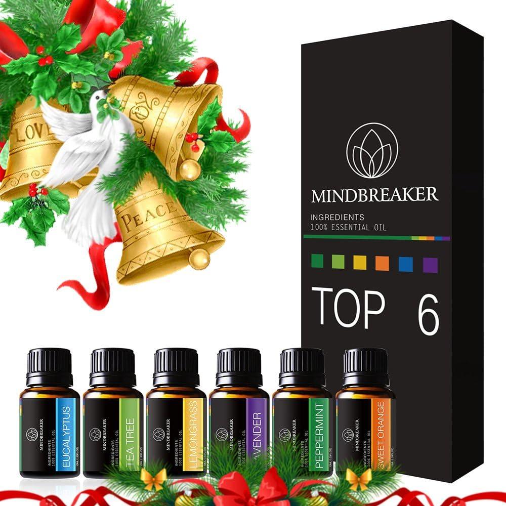Aceites Esenciales aromaterapia Set incluye parte superior 6 Set de regalo: lavanda, Naranja Dulce, menta, árbol de té, citronela, eucalyptus-100% Pure
