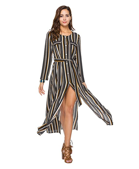 6774fb0c10 Haroty 2018 Vestiti Donna Strisce Abiti Bluse Lunghi Vestito ...