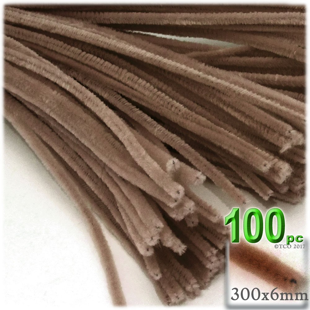 The Crafts Outlet Chenille Stems, Pipe Cleaner, 12-inch (30-cm), 100-pc, Light Brown