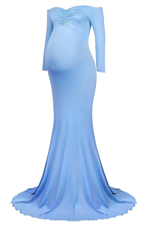 Molliya Damen Umstandskleid Schwangerschaftskleider Fotoshooting,Elegant Schwangerschafts Kleid Bustier Langarm tr/ägerlos LangeKleid Umstandskleid Schwanger Fotografie