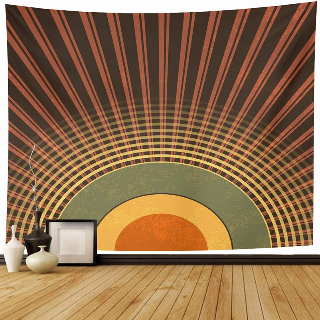 Ahawoso Tapestry Wall Hanging 80x60 Ray Brown 90S Retro Abstract Radio 50S Waves Green Pattern Music 80S Half Dot Home Decor Tapestries Decorative Bedroom Living Room Dorm