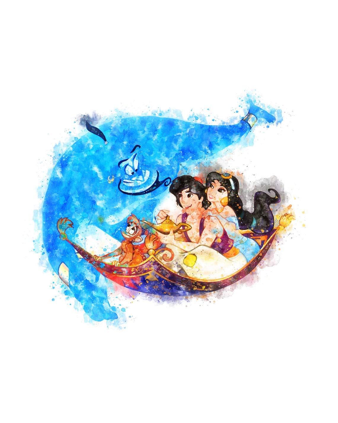 Aladdin and Jasmine Wall Art Disney Watercolor Poster Home Decor UNFRAMED