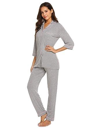 6e4b3beb24 Ekouaer Women's Pajamas Sets Comfy Sleepwear Loungewear PJ Sets with Tops  and Long Sleeve Pants(