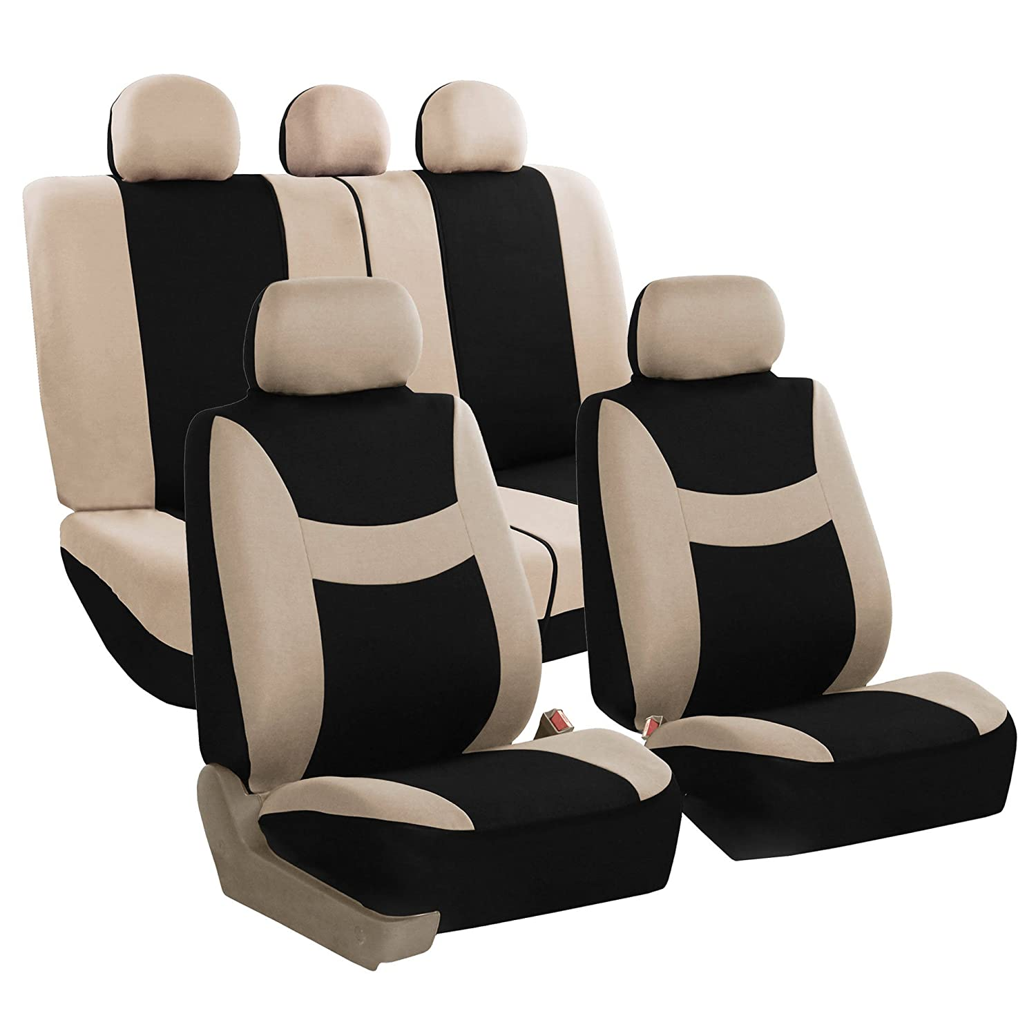 FH GROUP FB030115 SEAT Light Breezy Beige Black Cloth Seat Cover