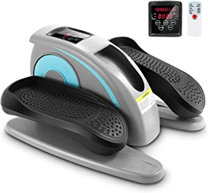 FUNMILY Under Desk Elliptical Machine, Electric Mini Elliptical Machine with Remote Control, LCD-Monitor & Large Massage Pedal for Home Use
