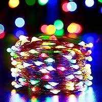 NEXVIN Cadena Solar de Luces de Alambre de Cobre 10M 100 LED,Guirnalda de Luces Solar,Luces Solares de Hadas para la Navidad, Jardín, Boda, Fiesta (Colores)
