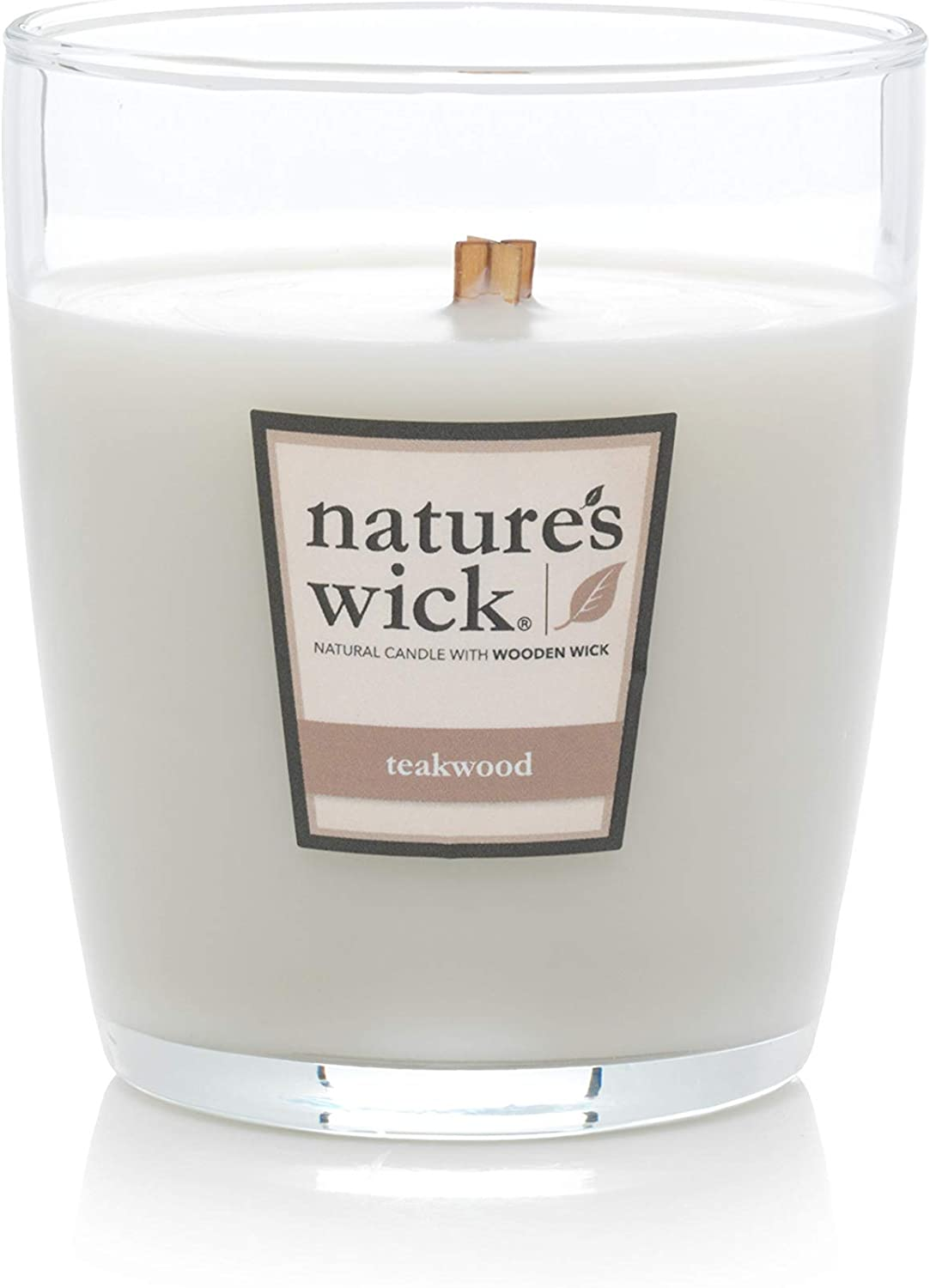 Jarred Natural Wood Wick Candle with up to 65 Hour Burn Time Teakwood Medium Natures Wick Scented 10 oz