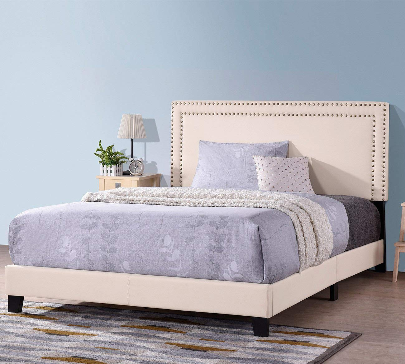 Upholstered Bed Frame Full Queen King, WeYoung Beige Platform Bed with Wooden Slat Support and Tufted Headboard Nailhead Detail Box Spring Required Queen