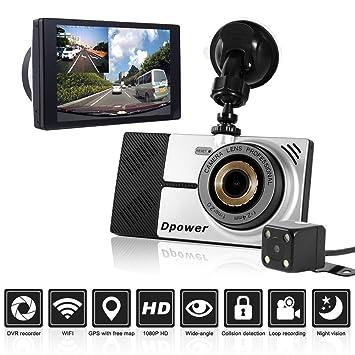 Dpower - Cámara DVR para coche Navegador GPS WiFi, Pantalla 5 pulgadas, HD 1080p