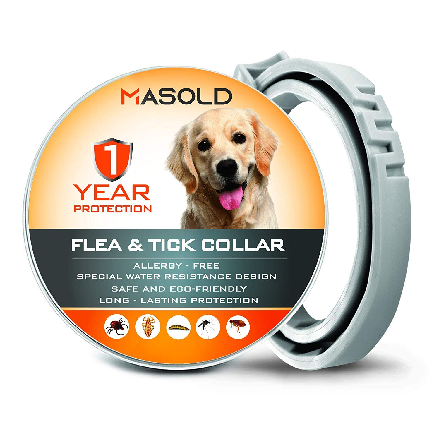 MASOLD Dog Flea and Tick Control Collar - 12 Months Flea and Tick Control for Dogs - Natural, Herbal, Non-Toxic Dog Flea Treatment - Waterproof Protection and Adjustable Best Flea Collar for Dogs